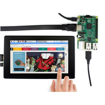 نمایشگر 7 اینچ IPS با تاچ خازنی رنگی 1024x600 با ورودی HDMI مدل H مولتی سیستم محصول Waveshare