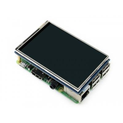 """هت نمایشگر تاچ """"3.5 رزبری Raspberry-Pi IPS (B) V4 تاچ مقاومتی و قلم Waveshare"""